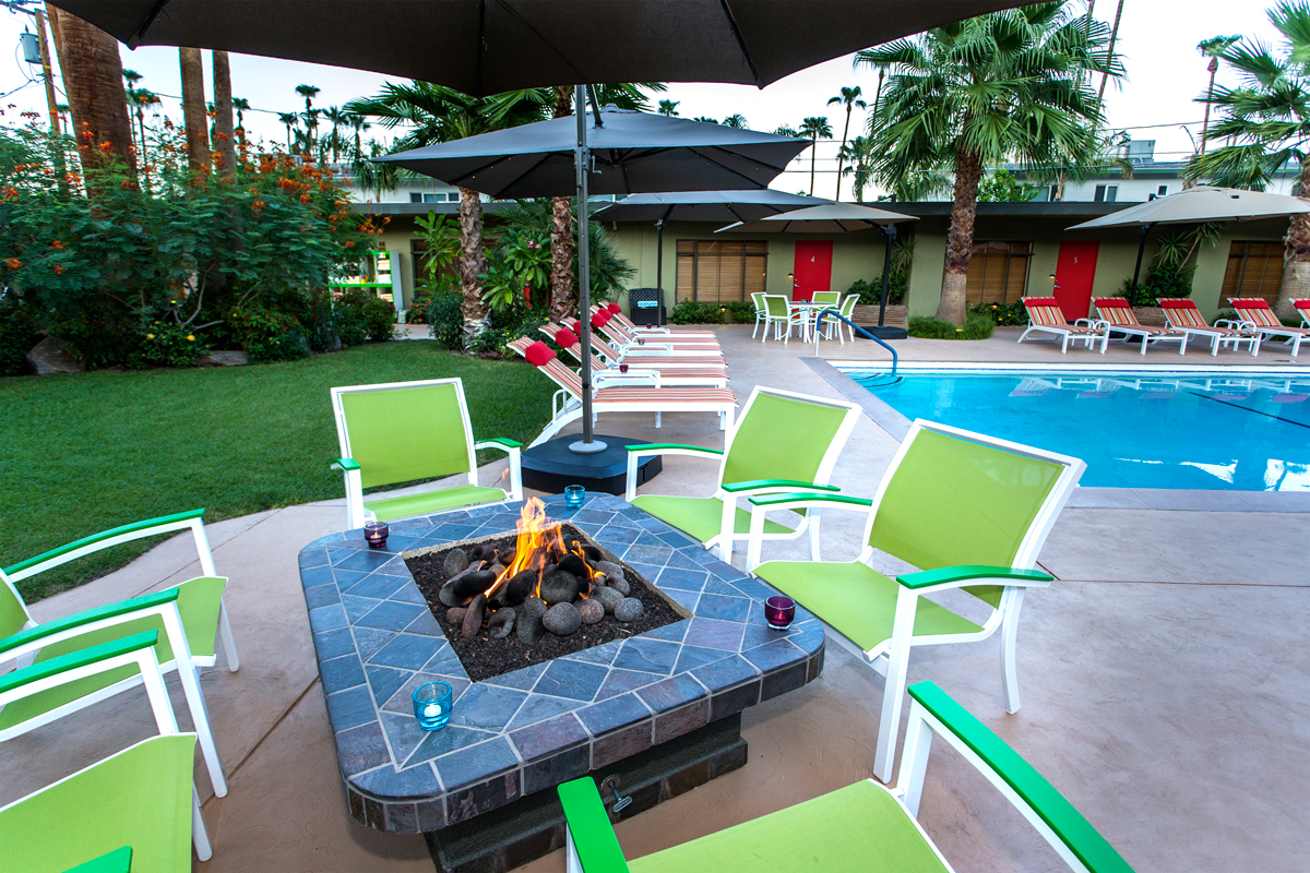 Poolside firepit at the Desert Riviera